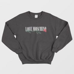 Love Moschino With Rose Logo Black Sweatshirt